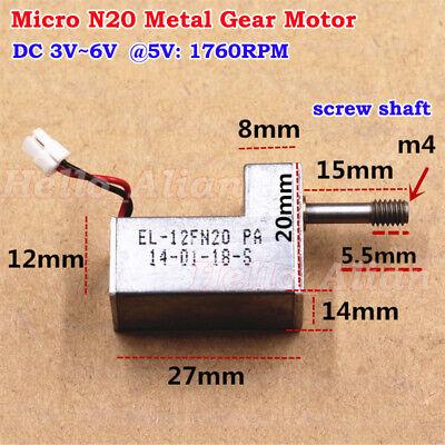 Micro 7-type N20 Metal Gear Motor Dc 3v-6v 5v 1760rpm Threaded Screw Shaft Diy