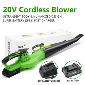 BUZZ Leaf Blower Cordless Leaf Dust Tool 20V 2000mAh Li-Ion Battery Lightweight