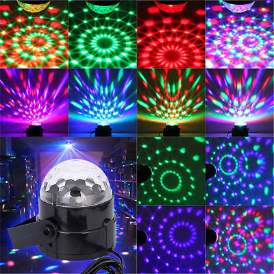RGB Music Active Crystal ball Rotating LED Stage Club DJ Party Disco Lights New