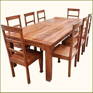rustic 8 person large kitchen dining table solid wood 9 pc