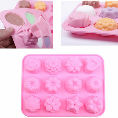 12-Cavity Silicone Flower Heart Chocolate Cake Soap Mold Baking Ice Tray Mould