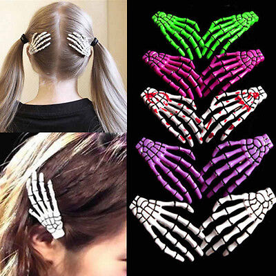 Creative 2PCS Halloween Skull Hair Clip Zombie Skeleton Hand Bone Claw - Halloween Skeleton Hair