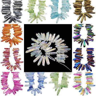 "Natural Quartz Crystal Druzy Freeform Stick Titanium Coated Loose Beads 7.5"""