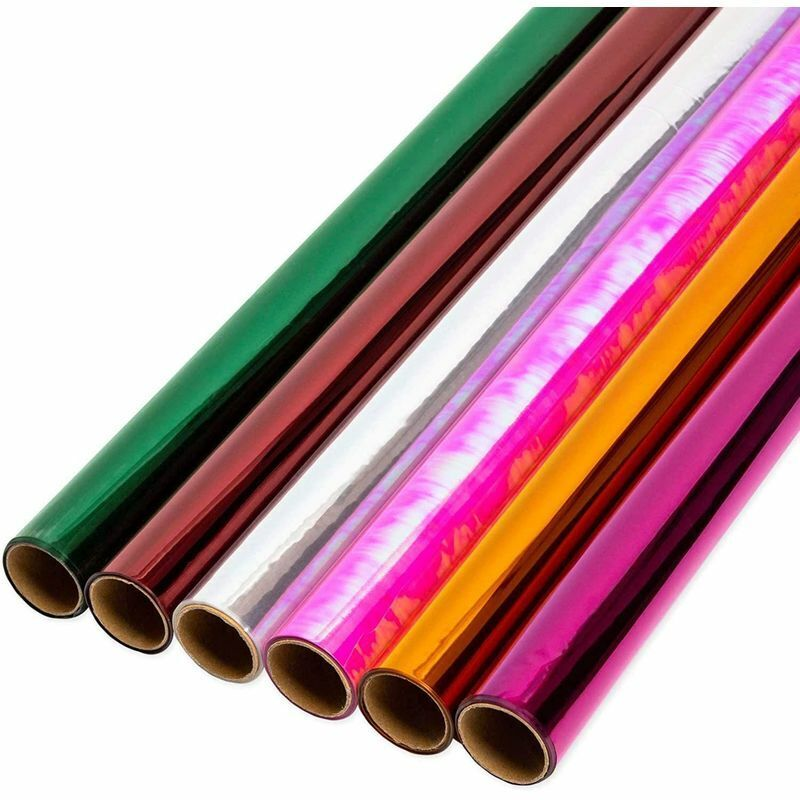 Clear Cellophane Gift Wrapping in 6 Colors (17 in x 10 Ft, 6 Pack)