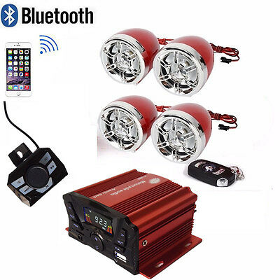 Utv Atv Anti Theft Speakers Usb Audio System Stereo Bluetooth Motor Remote