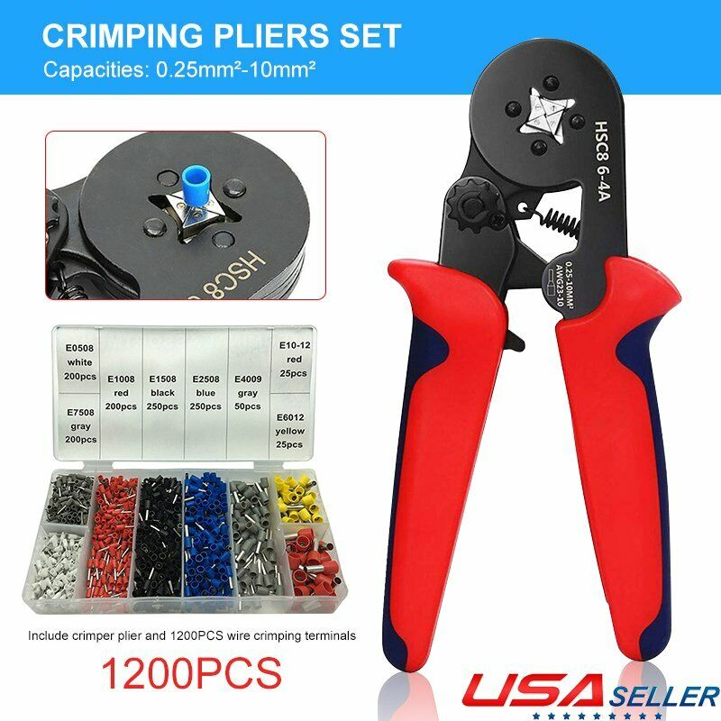 Crimper Plier Terminal Wire Connector Ferrule Crimping Tube Terminal Tool Kit