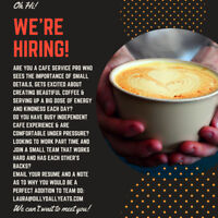 Front of House/Cash/Barista Position Available!