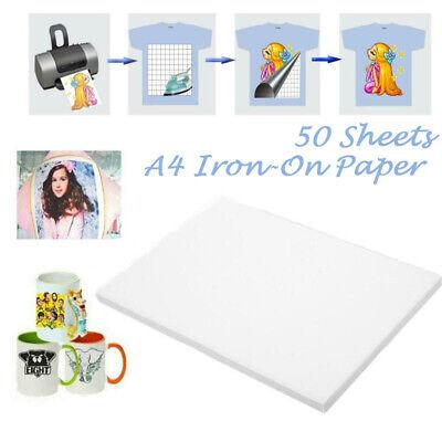 50pcs A4 Heat Transfer Paper Iron-on Paper For Light Fabric Cloth T-shirt Print