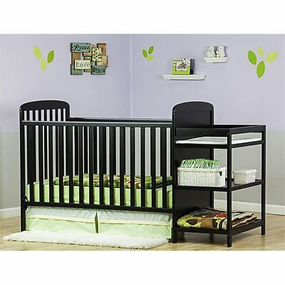 Dream On Me Anna 4in1 Full Size Crib and Changing Table in Black