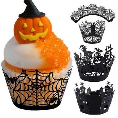 US 12pcs Halloween Style Decoration Muffin Cupcake Wrappers Party Decorating Set