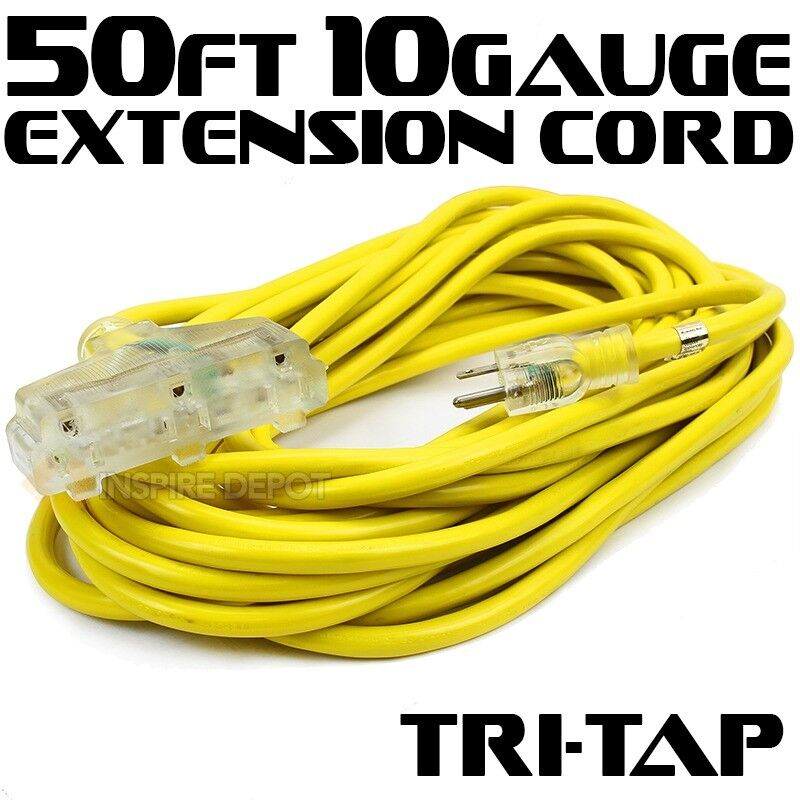 50Ft 10 /3 Gauge industrial power Electrical Extension Cords cable tri-tap