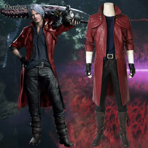 DmC Devil May Cry V Dante Cosplay Costume Tony Redgrave Outfit Leather Coat Only