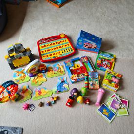 Large toddler toy bundle. Great clock, train, puzzles walle laptop