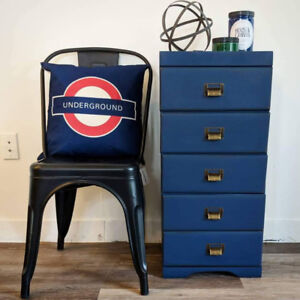 Navy Storage Unit Side Table