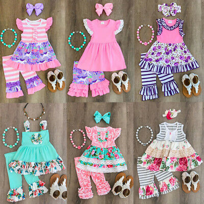 Unicorn Kids Baby Girl Outfits Clothes Ruffle Tops+Long Pants Playsuit 2PCS Set - Ruffle Girl Clothing