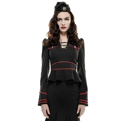 Military Pin Up Costumes (Punk Rave Pin-up Military Army Officer Costume Long Sleeve Blouse Top)