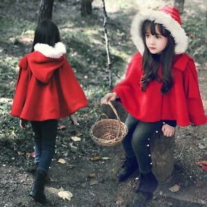 Girls Little Red Riding Hood Cape, Size 3-4-5-6-7