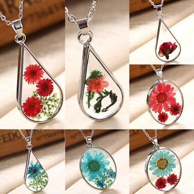- Transparent Resin Dried Daisy Flower Pendant Necklace Waterdrop Chain Jewelry