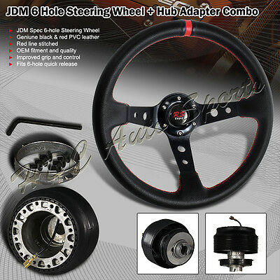 350mm Black / Red PVC Leather Deep Dish 6 Hole Steering Wheel + For Toyota Hub