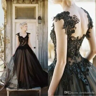 Vintage Gothic Black Wedding Dresses Long A-line Applique Backless Bridal Gowns