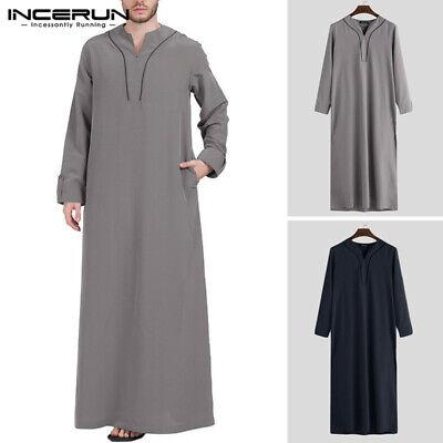 Men Full Length Long Sleeve Kaftan Islamic Arab Abaya Thobe Dress Top Loungewear
