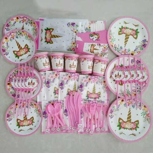 Birthday Party Decorations Rainbow Unicorn Balloons Plate Cup Napkins For Party