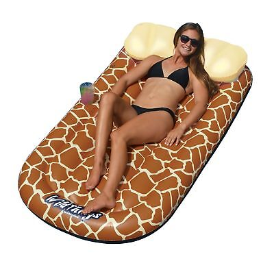 Swimline Wild Things Inflatable Giraffe Print Pool Float Lounger Mat | 90353