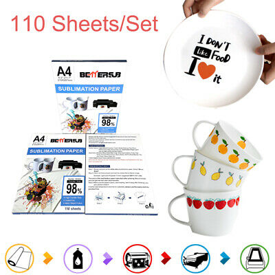 110 Sheet A4 8.5x11 Sublimation Paper Iron-on Heat Transfer For Diy Mug T-shirt