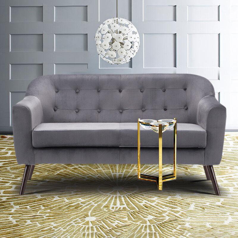 Skandinavisch Samt Kleiner Raum Sofa Sessel Wohnzimmer Couch Polstersofa 2sitzer Samtmobel