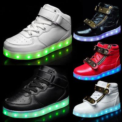 Hot Unisex 7 color LED Light Lace Up Sneaker Shoes USB rechargeable HighTop - Light Up Shoe