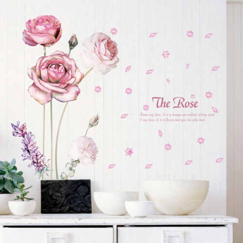 Romantic Pink Rose Flower Wall Stickers Decor Removable Home