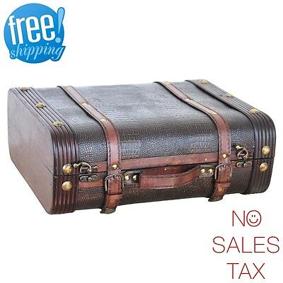 Suitcase Decor (Vintage Decor Suitcase Trunk Faux Gator Leather Decorative Retro Antique)