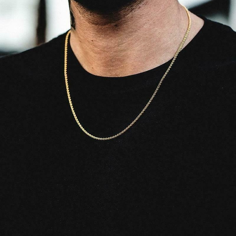 """10K Solid Yellow Gold Necklace Gold Rope Chain 16"""" 18"""" 20"""" 2"""