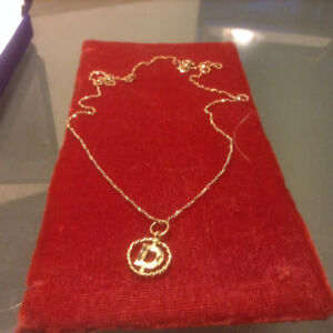 10K Gold Charm Pendant Necklace Letter and Chain