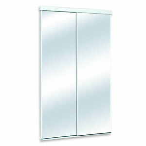 "36"" White Mirrored Sliding Closet Door"