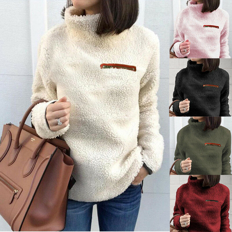 Damen Fleece Sweatshirt Stehkragen Pullover Pulli Winter Warm Teddy Jacke Mantel