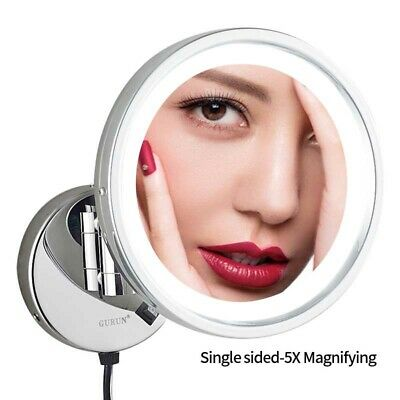 Chrome Wall Mounted Mirror (GURUN Wall Mounted Vanity Lighted Led Makeup Mirror 10X Magnification Chrome)
