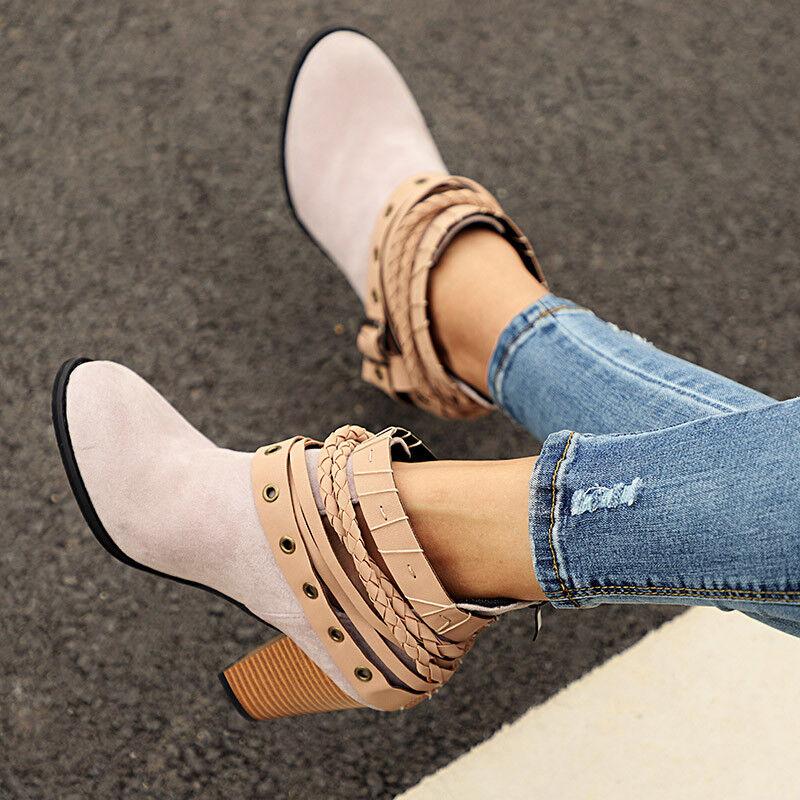Damen Stiefel Stiefeletten Ankle Boots Hoch Blockabsatz Schnüren Freizeit Schuhe
