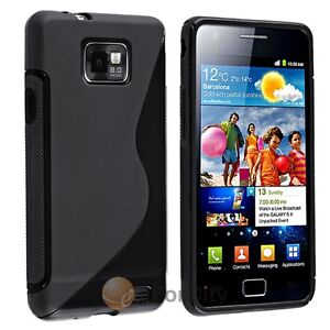 NEW Black S Shape TPU Hard Skin Case Cover For Samsung Galaxy SII S2 i9100 i777