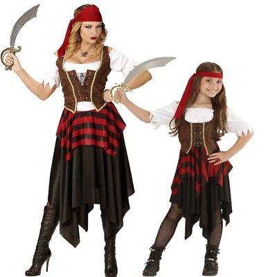 Dame Pirat Kostüme (PIRATIN Partner Kostüm für Damen Mädchen Kinder - Seeräuberin Piratenbraut Pirat)
