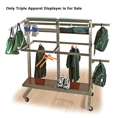 Metal Triple Apparel Display In Satin Nickel 51w X 24d X 62h Inches W 4 Wheels