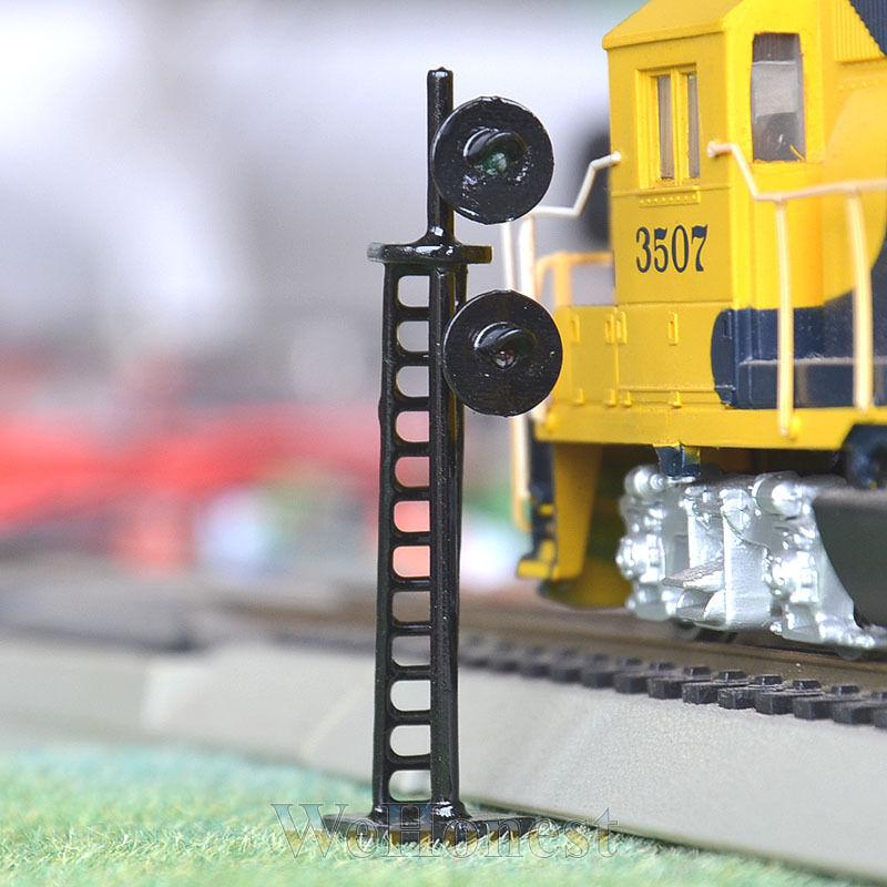 5 pcs HO Scale 1:87 LED Railroad Signals 2 single aspect Block Signal Green/Red