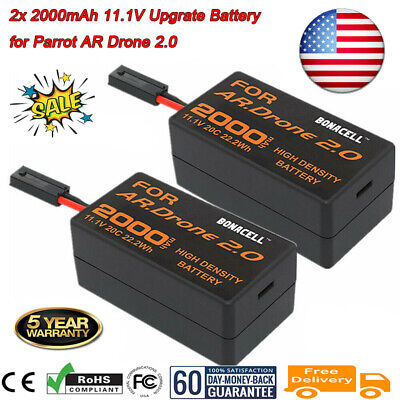 For Parrot AR Drone 2.0 Quadcopter 2000mAh 11.1V 20C Li Po Upgrade Battery 2 Pcs