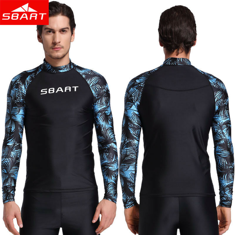 SBART New Men UV Protection Rash Guard Diving Tops Long Slee