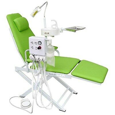 Dental Portable Chair Unit With Led Lamp Turbine Unit 4h Waste Basin Green