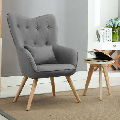Grey Linen Fabric Wing High Back Accent Chair Armchair Vintage Lounge Furniture