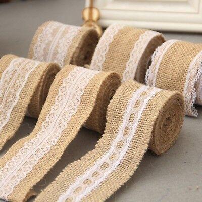 2M Natural Rustic Jute Burlap Hessian Ribbon +lace trim Edge Vintage Wedding