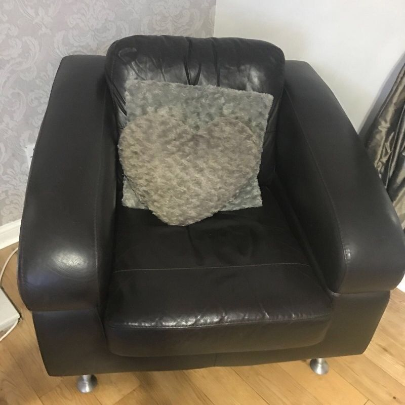 Brown italian leather armchair for sale
