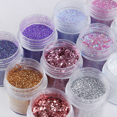 12Boxes/Set Nail Art Sequin Glitter Sheets Tips Mixed Powder Dust Nails DIY 10ml