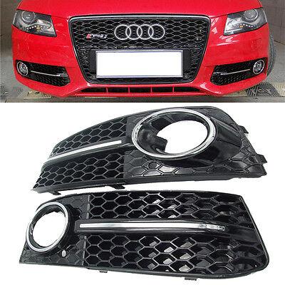 New Black Comb Front Fog Light Bumper Mesh Grilles For Audi A4 B8 8K 09 10 11 12
